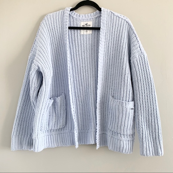 Baby Blue Chenille Oversized Knit Cardigan